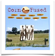background of blue sky with hay bales in a field, ears of corn are nav buttons, center of page is image of three men holding instruments