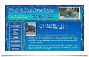 water design for a swimming pool builder web site